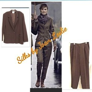 Silks by Joan Leslie Silk Business Pantsuit Sz 14
